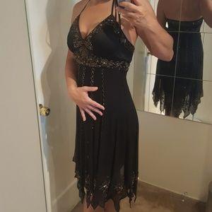 Sue Wong Black Crepe Beaded Dress LBD Cocktail 4